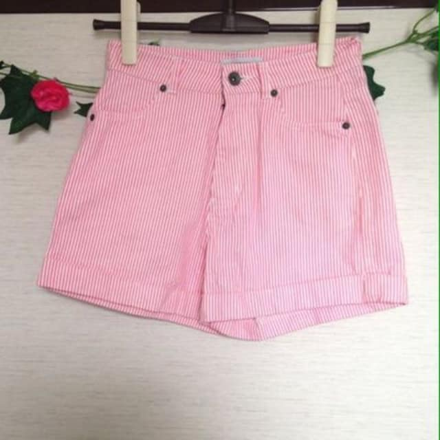 ブラウニー◆ピンク ボーダー コットン ショートパンツ Mサイズ  < 女性ファッションの