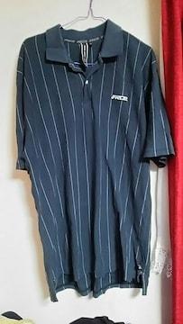 カジュアル★ストライプ★大きめ★黒★ポロシャツ★size L