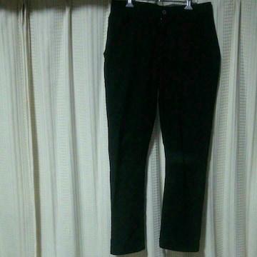 モルガンオムMORGAN HOMME ストレッチテーパードパンツLサイズ黒ワークパンツメンズ中古服
