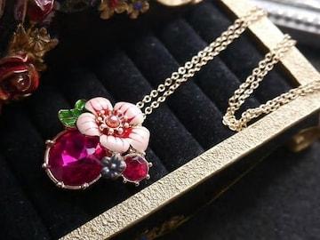 新品 アンティーク調ローズピンクストーンお花ネックレス
