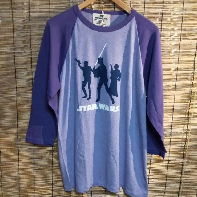 STAR WARS スターウォーズ ラグラン 7分袖 紫 未使用 XL  < 男性ファッションの
