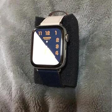 送料込Apple Watch44mmツートン革ベルトネイビー&クリームぽい白
