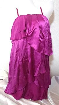 シップスリトルブラック シルク ワンピース ランジェリー代わりにも♪紫 絹 ツルっ