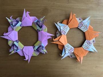 ハンドメイド 折り紙 鶴リース 2個 壁面飾り