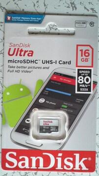 新品 microSDHCカード16GB(CLASS10) SanDisk(サンディスク)