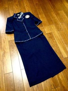 【美品即決】専門店◆濃紺◆上質洗練ロングスーツ◆サイズ11