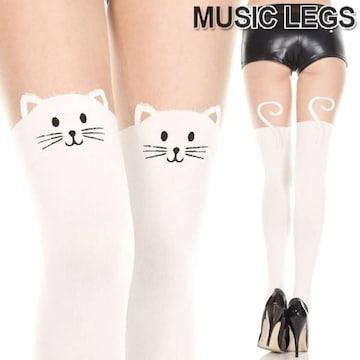 A645)MusicLegsホワイトキャットフェイスストッキング白猫ネコタイツニーハイサイハイ風