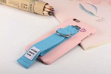 ベルトストラップ iPhoneケース ピンク×青ベルト 1/ARA