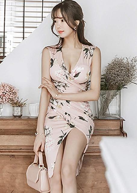 カシュクール スリット入りワンピース(S寸・ピンク) < 女性ファッションの