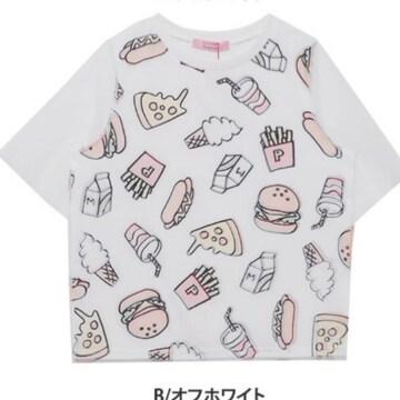 5L6L¥3190新品☆チュール五分袖ジャンクフードT