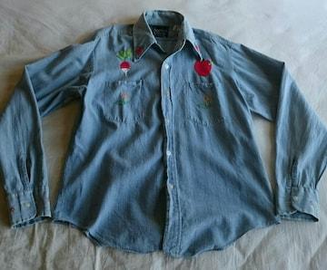 ビンテージ ブルーデニム シャンブレーシャツ フクロウ 刺繍