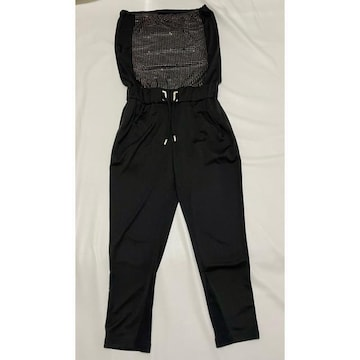 キラキラストーン ジャンプスーツ ベアトップ 黒
