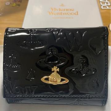 ヴィヴィアンウエストウッド エナメル 三つ折り財布 黒 ミニ財布