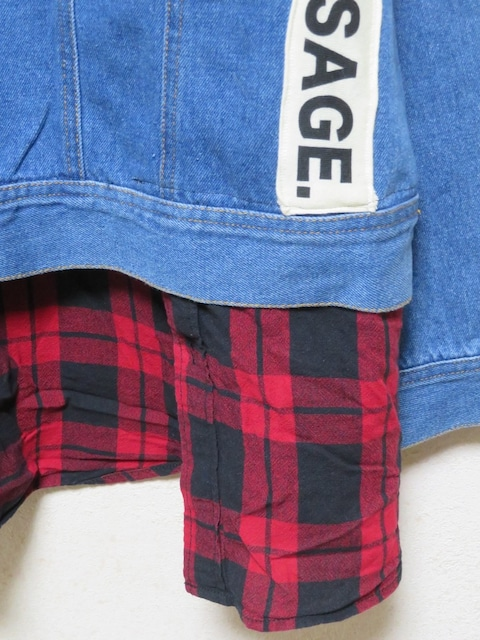 3L/大きいサイズ/デニム/赤系チェック柄&ロゴ/リメイクGジャン < 女性ファッションの