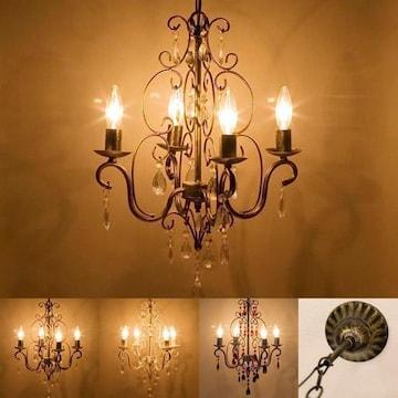 豪華 シャンデリア アンティーク調 LED対応 3色展開 4灯ライト