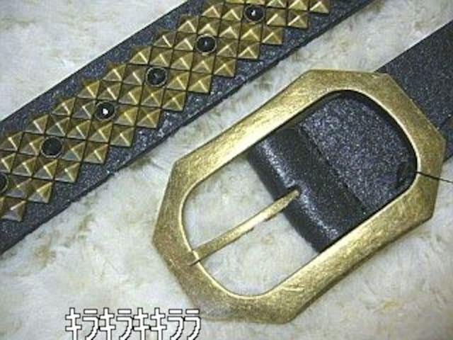 【Diavlo】《New》ブラック*ストーン&ゴールド*ピラミッドスタッズ★ベルト<ブラック < ブランドの