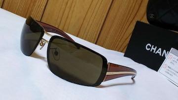 正規美 CHANELシャネル ブランドロゴ文字スポーティーサングラス茶×ゴールドメタリック