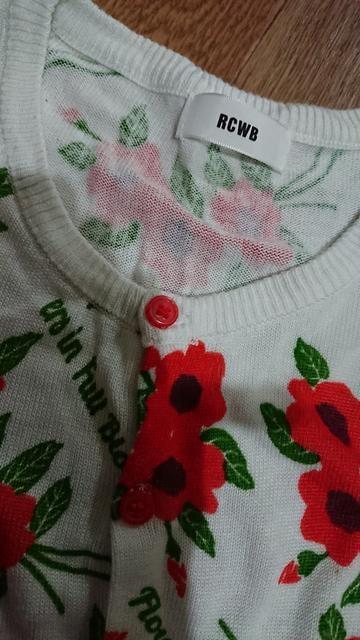 美品☆ロデオクラウンズ☆オレンジ花柄カーディガン < 女性ファッションの