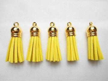 519★金色キャップ.タッセルチャーム.黄色.5本