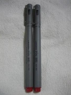 MITSUBISHI PIN 油性サインペン 赤 2本 0.3mm 三菱