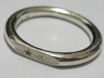 ワンポイント天然ダイヤのシンプルプレーン本格シルバー銀艶925リング10号