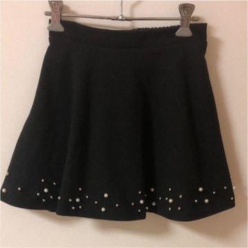 マッシブmassive 黒ブラック フレアミニスカート