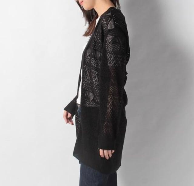 NICE CLAUP 透かし編みロングカーディガン ブラック < 女性ファッションの