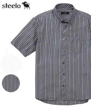 Mサイズ!ブランド品スティーロ!高貴品格!紳士的サラッと!アムゼンストライプ半袖シャツ