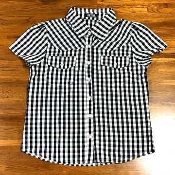 美品 GALSTAR ギャルスター ギンガムチェック 半袖シャツ 黒 白