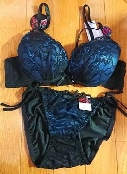 �HC75/M セクシー ヒモパンティー 大人系 ブラジャーショーツセット 黒ブルー 2021
