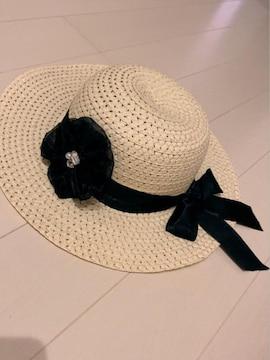 子供用白っぽいベージュリボンコサージュ取り外し可能麦わら帽子