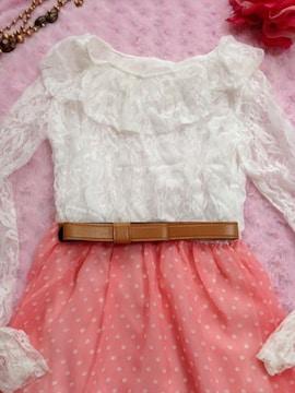 春新作 レースピンク水玉 ワンピース Sサイズ