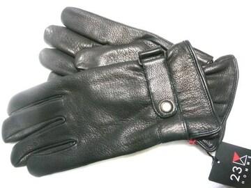 23区オム24黒鹿皮革製手袋ストラップベルト