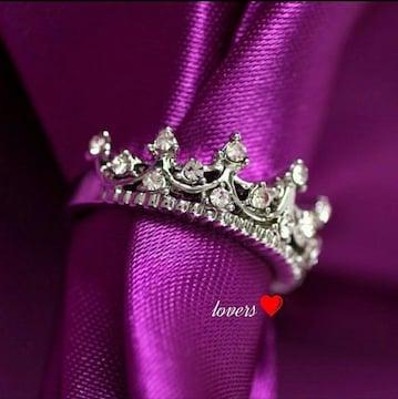 送料無料18号シルバースーパーCZダイヤクラウン王冠リング指輪