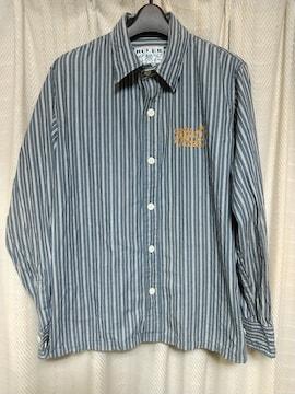 ルーラーRULERチェーンステッチ刺繍ストライプシャツLサイズ長袖シャツ日本製ルードドメスティック