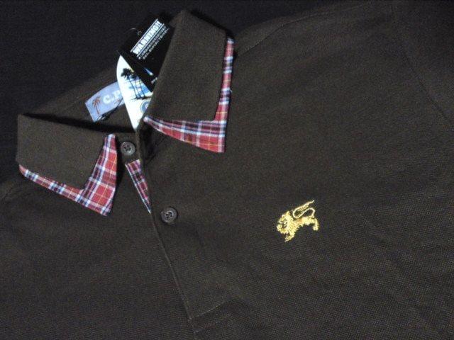 ワンポイントでシンプルコーデにポロシャツブラウン M < 男性ファッションの