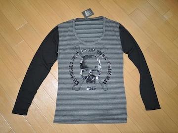 新品ロエンROENカットソーS灰黒スカルボーダーロンTシャツ