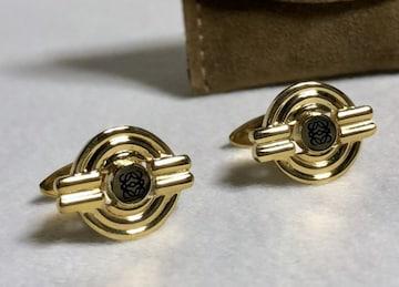 正規 ロエベLOEWE アマソナ アナグラム オーバルデザインカフス 金×黒 カフリンクス ボタン
