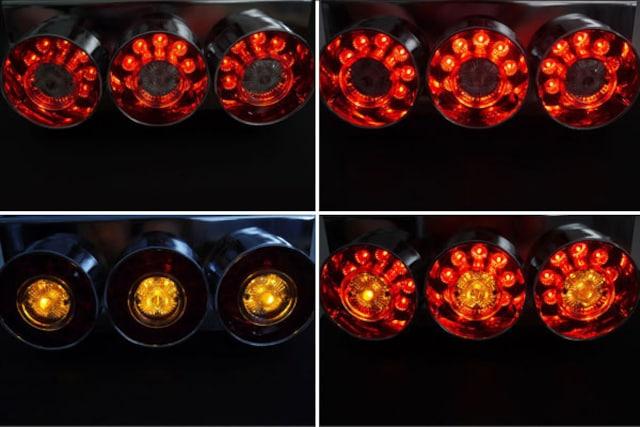 トラックテールランプ 紅白3連LEDテールランプ左右set 24V 43 < 自動車/バイク