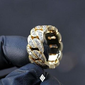 18kイエローゴールドGPダイヤモンドcz喜平リング指輪 15号