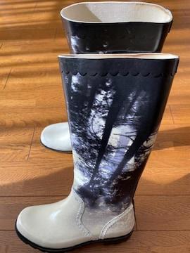 【DIESEL】レインブーツ 長靴◇黒×白柄◇24.5cm前後