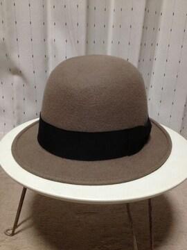 カシラ CA4LA×KONX ウール ボーラーハット 帽子 56cm ベージュ×黒 日本製レザー