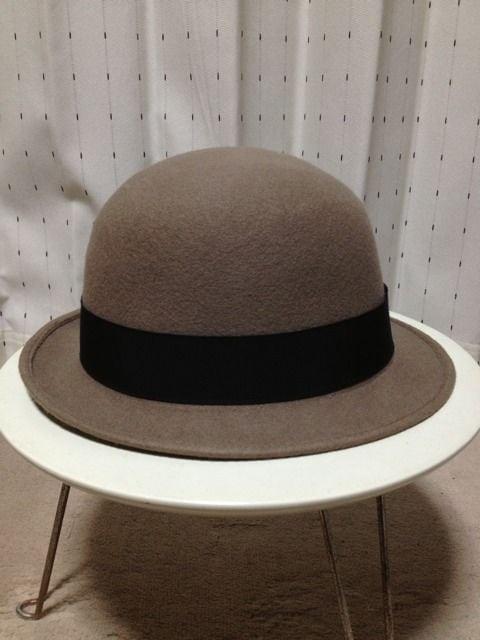 カシラ CA4LA×KONX ウール ボーラーハット 帽子 56cm ベージュ×黒 日本製レザー < ブランドの