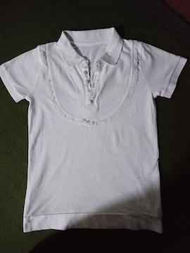 新品同様  ポロシャツ トップス レース 半袖 ホワイト クルミボタン