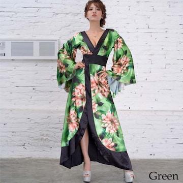 サテン花柄ロング着物ドレス 衣装 ダンス よさこい 花魁 チャムドレス