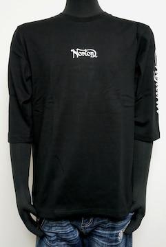 新品Nortonバックシルバーラメ刺繍ロンT 黒L 203N1106