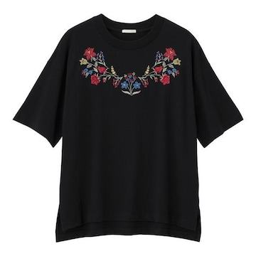 GU ジーユー エンブロイダリー 半袖Tシャツ M 黒 ブラック
