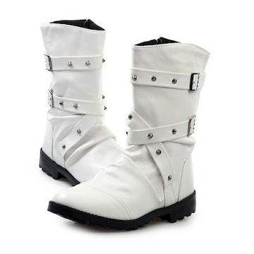 ベルトロングブーツ/シューズ靴/お兄系ホストメンナクオラオラ系悪羅悪羅系/78白26.0
