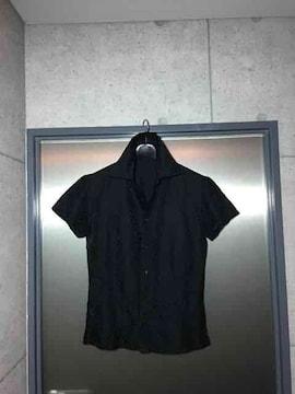 5351プールオム/ゼブラジャガード織り半袖タイトシャツ/黒1