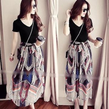 フレアーワンピ マキシワンピ Tシャツ&ロングスカート